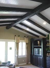 Vaulted ceiling wood beams Enlarge Vaulted Ceiling Beams Installed On Top Of White Wooden Planks Deavitanet Vaulted Ceiling Ideas Enhance Your Home Design With Ease