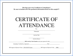Certificate Attendance Template Free Download Sample 3062