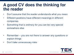 ... 17. A good CV does ...