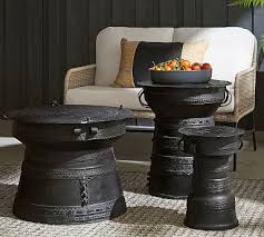 frog drum outdoor side table pottery barn