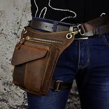 new item vintage style leather drop leg bag