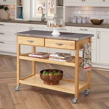 Home Styles Natural Designer Utility Cart Home Styles Natural Designer Utility Kitchen Cart With Stainless Steel Top Two Utility Drawers Adjustable Shelf And Industrial Casters Optional