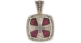 lyst konstantino henos men s sterling silver cross pendant with ruby root in metallic for men