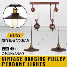 details about vintage industrial hanging pulley pendant lights hanging adjustable kitchen
