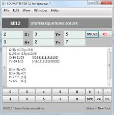 4 system of linear equations solver se 12 sample screenshot