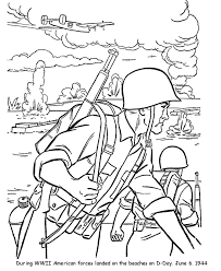 Us Army D Day World War Ii Drawing Veterans Day Coloring Page