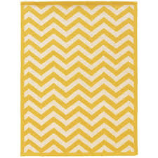 linon home decor silhouette chevron yellow and white 5 ft x 7 ft indoor