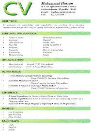 Ideas Of Curriculum Vitae Format For Teachers Pdf Fabulous Format Of