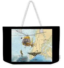 Us Coast Guard Rescue Swimmer Nautical Chart Art Cathy Peek Weekender Tote Bag