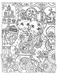 Free Coloring Page Coloring Adult Two Cute Cats Two Loving Cats To