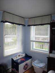 Box pleat valance with trim band detail at bottom edge and ...