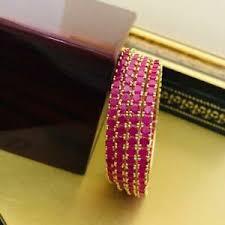 Details About Indian Bollywood Gold Tone Ruby Ad 4 Pcs Churi Bangle Polki Fashion Ethnic Jewlr