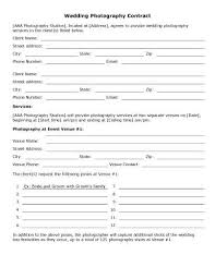 Wedding Photography Contract Form Event Photography Contract Template
