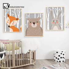 Cartoon <b>Rabbit Fox Bear</b> Animal Nursery Posters and Prints Wall Art ...