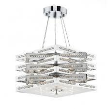 cube 5lt polished chrome pendant semi flush ceiling light