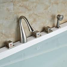 waterfall bathtub faucet wall mount luxury 5pcs deck mounted waterfall bathtub bath tub faucet with handheld