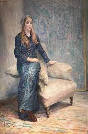 adrian gillespie beach portrait painting mid 20th c portrait seated lady in turquoise green