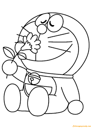 Doraemon love is a great platform game. Doremon Loves Flowers Coloring Page Free Coloring Pages Online