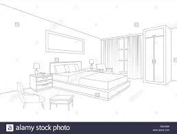 Bedroom Interior Design Drawing Bedroom Furniture Interior Room Line Sketch Drawing Home