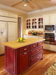 Traditional Kitchen Idea In Dallas With Glass Front Cabinets, Wood  Countertops And Red Cabinets