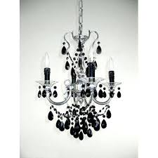 via silver four light mini chandelier with black crystal accents lamp shades