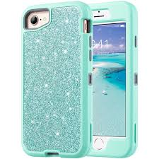 ulak sparkly glitter case for iphone 8 iphone 7 case iphone 6 case luxury 3 in 1 hard pc tpu cover with shiny leather shockproof protective case for
