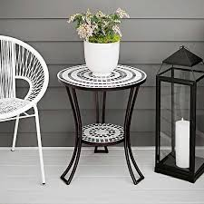 white mosaic outdoor side table