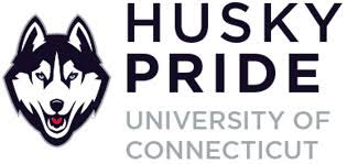 husky pride university of connecticut vertical logo with husky dog to the left