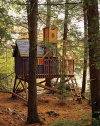 this tree house is absolutely adorable with its pop of color you could easily place it in a wooded area yet it would still stand out