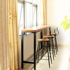 wrought iron and wood furniture. Buy Nordic Simple Wrought Iron Wood Bar Table Against The Wall Starbucks Cafe Tables And Chairs Combination Stool Chair In Cheap Price On M.alibaba.com Furniture .