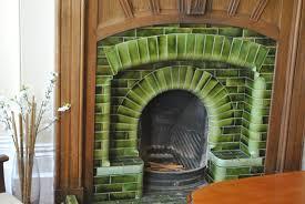 045 antique fireplace tiles green glazed ireland 11