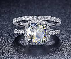 discount diamond wedding ring sets. luxury quality nscd synthetic gem 3 carat cushion cut engagement wedding ring set for women,bridal set-in rings from jewelry \u0026 accessories on aliexpress.com discount diamond sets