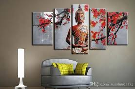 simple decoration buddha canvas wall art no frame home office 5 panel  on wall art canvas prints canada with buddha wall art talentneeds