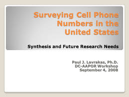 Surveying Cell Phone Numbers In The United States Synthesis And