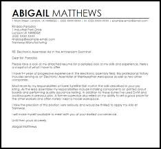 Components Of A Good Cover Letter Electronic Assembler Cover Letter Sample Cover Letter