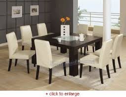 dining room table glass inlay. modern wenge square dining table with frosted middle glass and 8 beige chairs set - room inlay