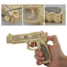 3d diy wooden toys construction kit revolver wood puzzle craft kids pistol