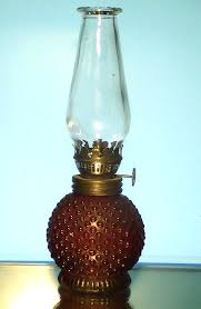 image 0 of miniature oil lamp red hobnail base 8 25 x 3 vintage