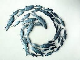 fish metal wall art metal fish art wall decor contemporary silver fish shoal metal wall art