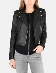 armani exchange luxe leather moto jacket leather for women a x