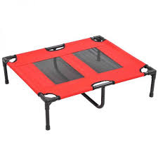 pawhut 31 x 27 elevated dog cot cooling summer pet bed frame red