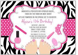 Zebra Pedicure Spa Birthday Party Invitations Glamour Makeover Spa Kids Birthday