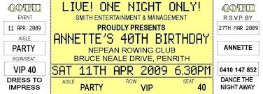 Party Ticket Invitations Beauteous Concert Ticket Invite Template Free 44th Birthday Invitations
