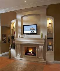 home fireplace ideas living room with tv natural stone around fireplace decorative plant wooden bookcase tv