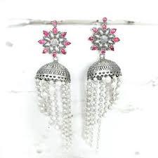 shocking silver pearl chandelier earrings