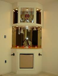 Interior, Enchanting Small White Corner Bar Design Ideas With Mirror  Background And Hanging Glas: