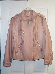 nwt 169 chico s faux leather moto jacket outerwear size 2 large 12 14 pink