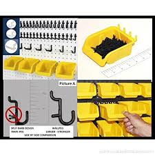Pegboard storage bins Hooks Wallpeg 43 Pc Kit Pegboard Storage System Pegboard Hook Assortment With New Larger Pegboard Bins B0791lc7gt Wallpeg 43 Pc Kit Pegboard Storage System Pegboard Hook Assortment
