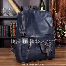 Light In The Box Handbags Mens Bags Pu Polyurethane School Bag Zipper Black Blue