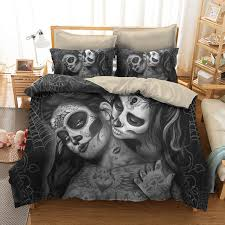 yi chu xin 3d sugar skull bedding sets queen size couple kiss skull duvet cover set with pillowcase bedclothes twin